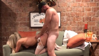 Nude Tube  : Tiny Blonde gets Hard Fuck Creampie in her Halloween Fantasy