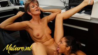 Nude Tube  : Mature stepmom amp Her Young Lesbian Friend Lick Each Other's Pussies